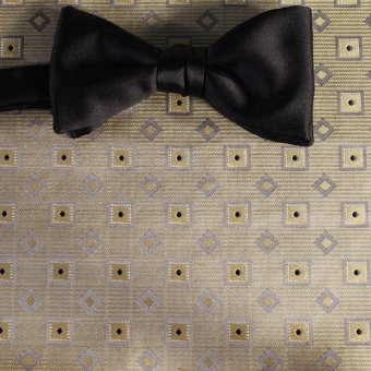 bow tie yellow, silver, navy-blue, grey - squares, design 200182