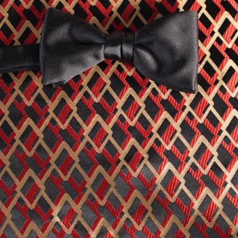 bow tie black, red, gold - patterned, design 200187