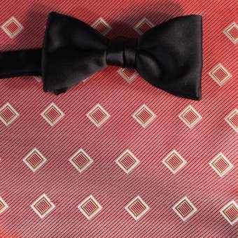 bow tie red, yellow, silver, white - squares, design 200192