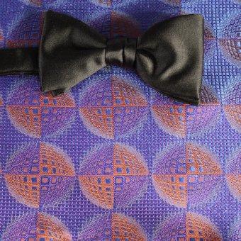 bow tie blue, navy blue, orange, terracotta - patterned, design 200208