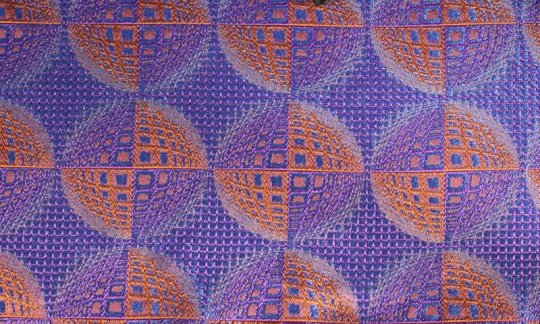 plastron blue, navy blue, orange, terracotta - patterned, design 200208