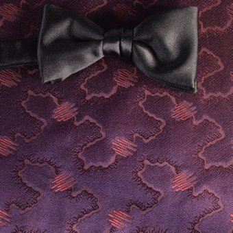 bow tie ruby-colored, violet - tone in tone, design 200215