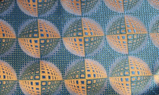 Pocket square yellow, green, blue - patterned, design 200225