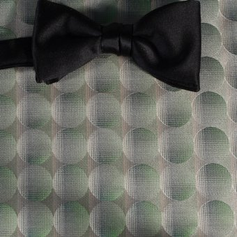 bow tie green, silver, gold, cream - polka dot, design 200234