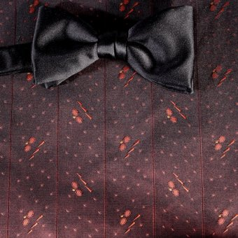 bow tie navy-blue, ruby-colored - patterned, design 200264