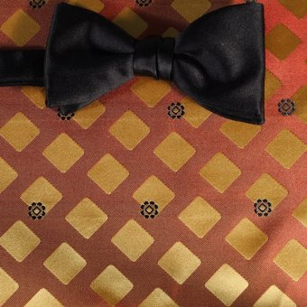 bow tie terracotta colored, blue - squares, design 200269