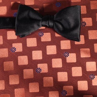 bow tie yellow, navy blue, orange - squares, design 200270