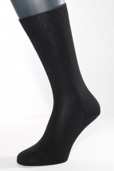 Men's slighty thicker business silk socks with cotton and cashmere black