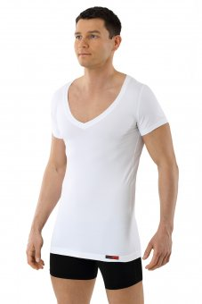 Men's functional Coolmax business undershirt with deep v-neck white