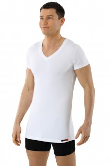 Men's functional Coolmax business undershirt with v-neck white