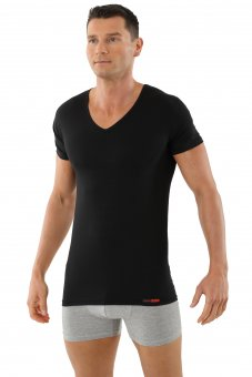 "Men's undershirt ""Hamburg"" short sleeves v-neck stretch cotton black"