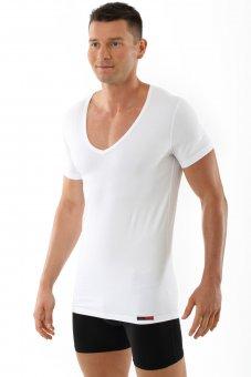 "Men's short sleeve cotton undershirt ""Hamburg"" with deep v-neck white"