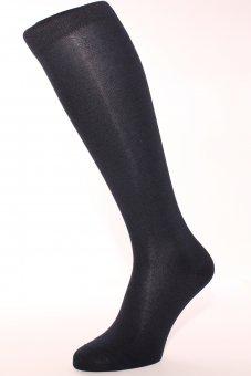 Men's knee-high business socks with cashmere inside navy-blue