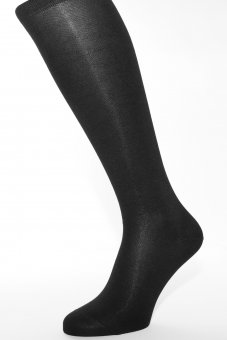 Men's knee-high socks with cashmere interior - black