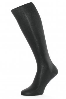 Men's elegant knee-high business socks made of pure silk black