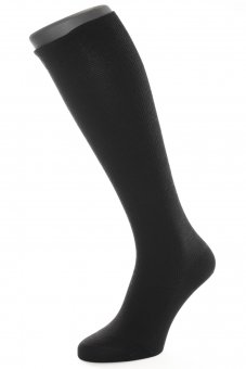 Unisex knee-high compression socks with silver fibers black