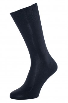 Men's elegant business socks made of pure silk navy-blue
