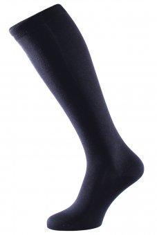 Men's elegant knee-high business socks made of pure silk navy-blue