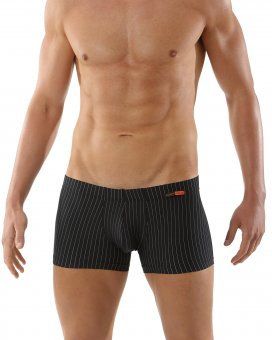 "Men's business boxer briefs ""Sylt"" microfiber black with fine pinstripes"