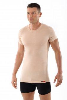 "Men's invisible flat crew neck short sleeve undershirt ""Stuttgart light"" nude /skin color"