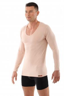 "Men's invisible undershirt ""Hamburg"" long sleeves v-neck stretch cotton nude"