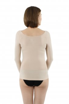 Invisible women's long sleeve undershirt with deep scoop ...