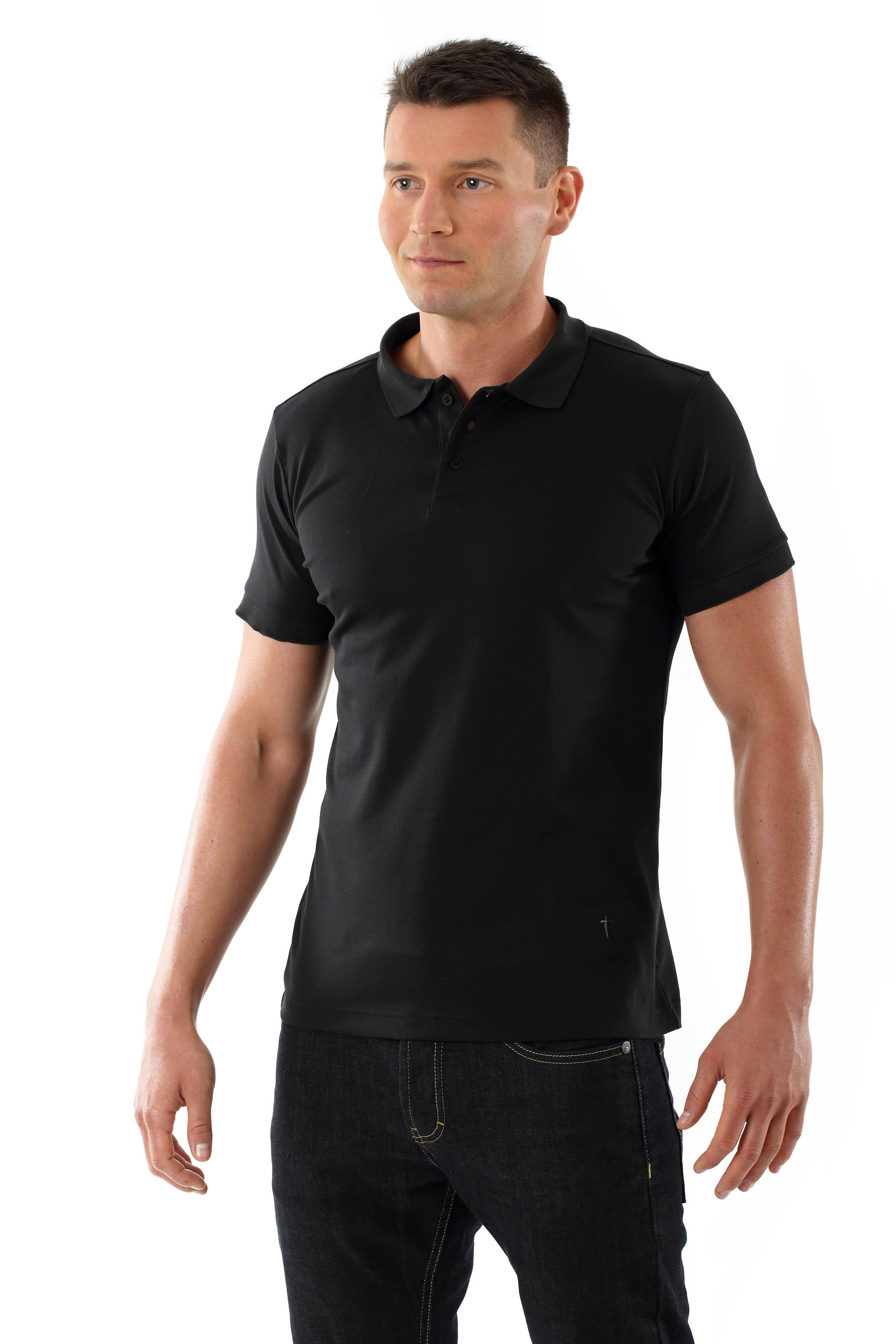 Mens Cotton Pique Polo Shirt Business Black Albert Kreuz